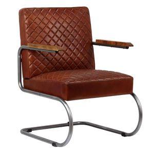 Fauteuil Cuir Veritable En Style Classe Moderne Pour Salon Bureau Marron Fonce 63 X 75 88 Cm