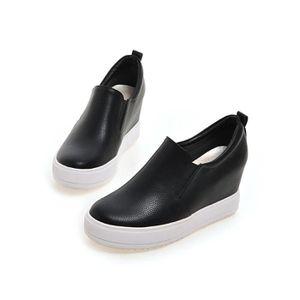chaussures de skate-Pur Toe Rond Couleur des femmes Platform Chaussures de skate avec paillette ezVjaDUZ