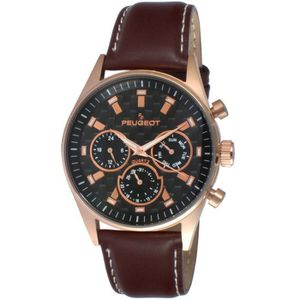 MONTRE Multi Dial Chronograph Sport Watch With Brown Leat