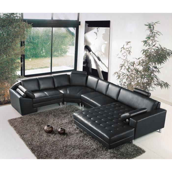 grand canap d 39 angle panoramique en cuir noir king achat vente canap sofa divan cdiscount. Black Bedroom Furniture Sets. Home Design Ideas