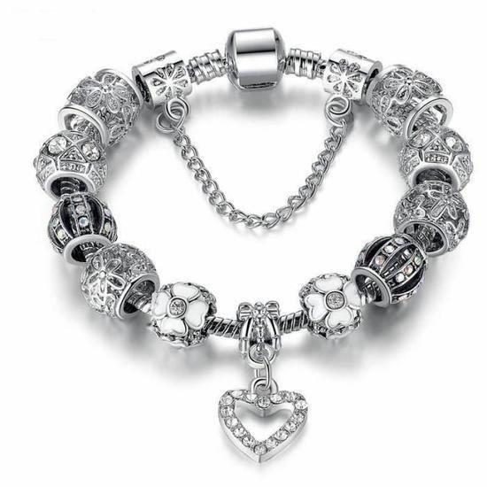 BRACELET - GOURMETTE CO Bracelet Style Pandora Charms 20 cm Cristal Arg