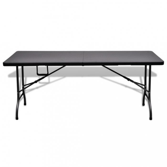Tables d\'exterieur Table de jardin pliable noire 180 cm imitation rotin