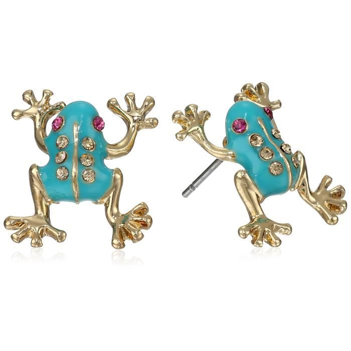 Betsey Johnson Teal And Gold Frog Boucles doreilles