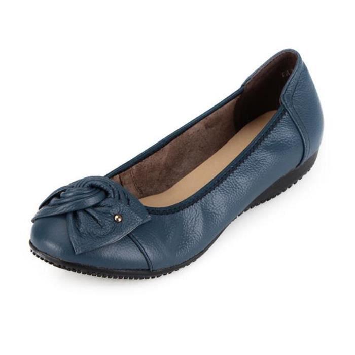 Ballerine Chaussures en cuir welt plates chaussures plates fond mou chaussures femme modepas cher OuOELmGr0u