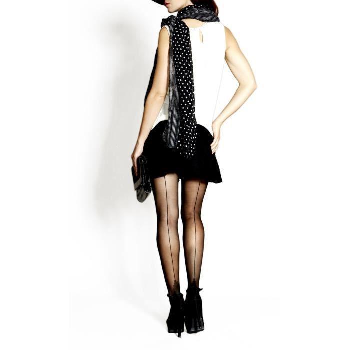 COLLANTS LAUVE Collants Fantaisie Voile Fatale Motif Couture Noir ... 5bb00ce9494