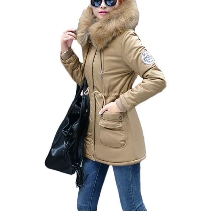tout neuf 20285 cca97 Parka pour a capuche Femme hiver a la mode slim col en fausse fourrure et  longue Vêtement Femme Pattes d'épaules