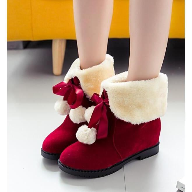 Mignon Chrismas cadeau pour femmes Chaussures coton Gril plat chaud Bottes d'hiver, Noël Mignon Cadeau de Pour La Fille Des
