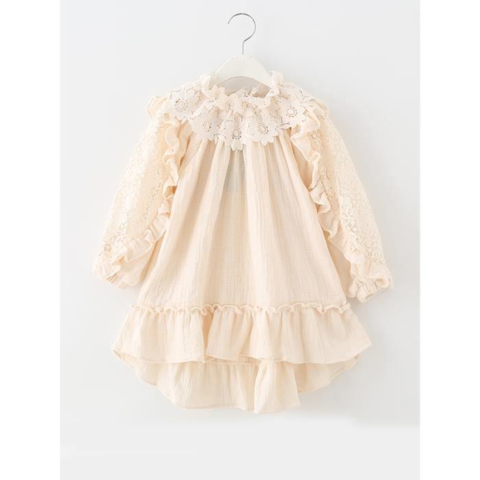robe de fille patchwork de dentelle couleur unie barre oblique robe de col