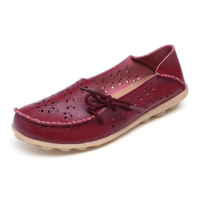 Comfortable Rubber Sole Leather Flats Slip On Loafer Shoes MHHRL Taille-40 xdGext7k