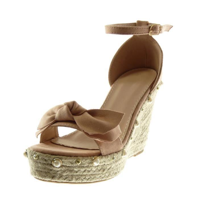 lanière cheville Sandale 11 CM plateforme corde femme compensé Mule noeud Chaussure perle plateforme Angkorly Rose Mode Talon Ew4q6Y