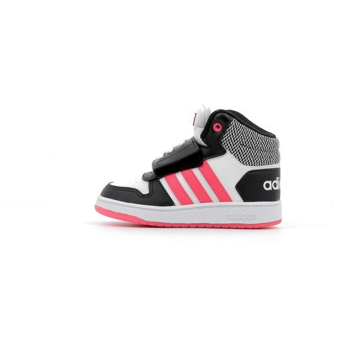 Baskets montante enfants Adidas Hoops Mid 2.0 Inf Children coloris Core Black - Real Pink - Footwear White
