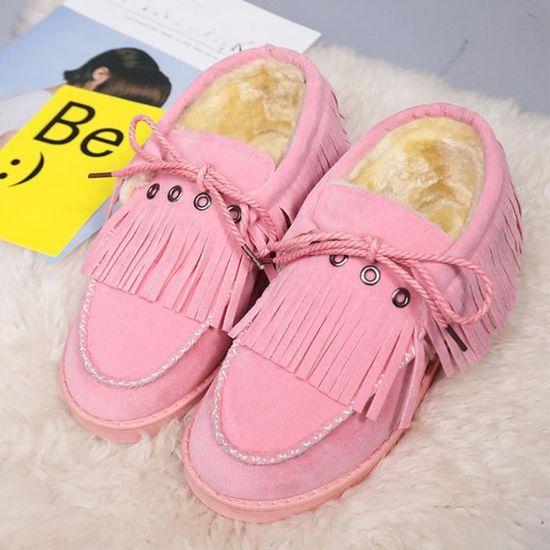 Bottes Bottines Plates Chaudes Neige Femmes D'hiver Lazy 2878 Fourrées De Tassel Chaussures bv6yYf7g