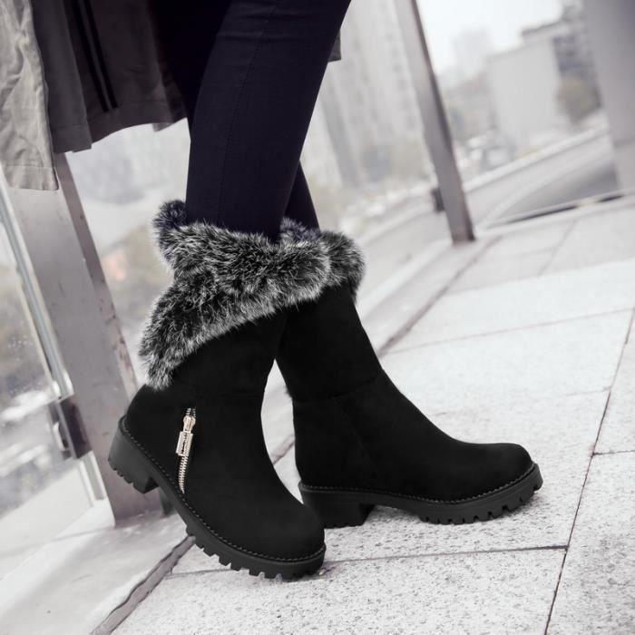 Femme Hiver Neige Cheville Boots Chaudes qualité supérieure Fourrure Chaussures SIMPLE FLAVOR