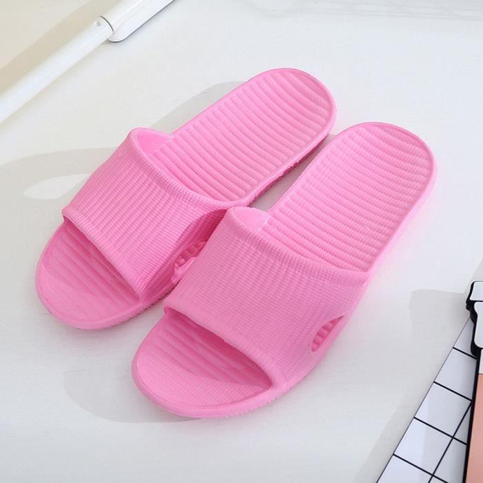 Femmes Stripe Pantoufles de bain plates pantoufles d'été intérieur et extérieur pantoufles @YLL71213527HOT