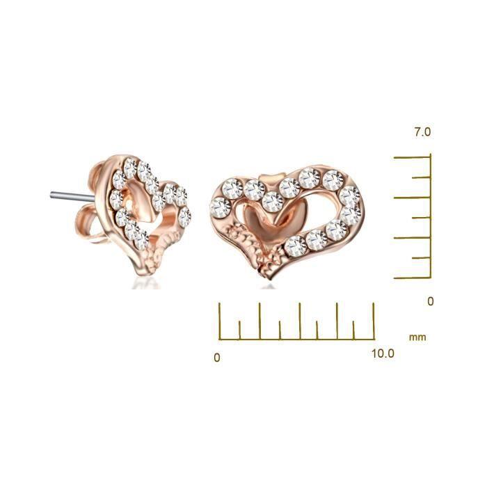 Boucle doreille Gemini Bijoux Femmes recouvertes en Or Coeur damour Clous doreilles petits Cristal de SwarovskiCadeaux de St