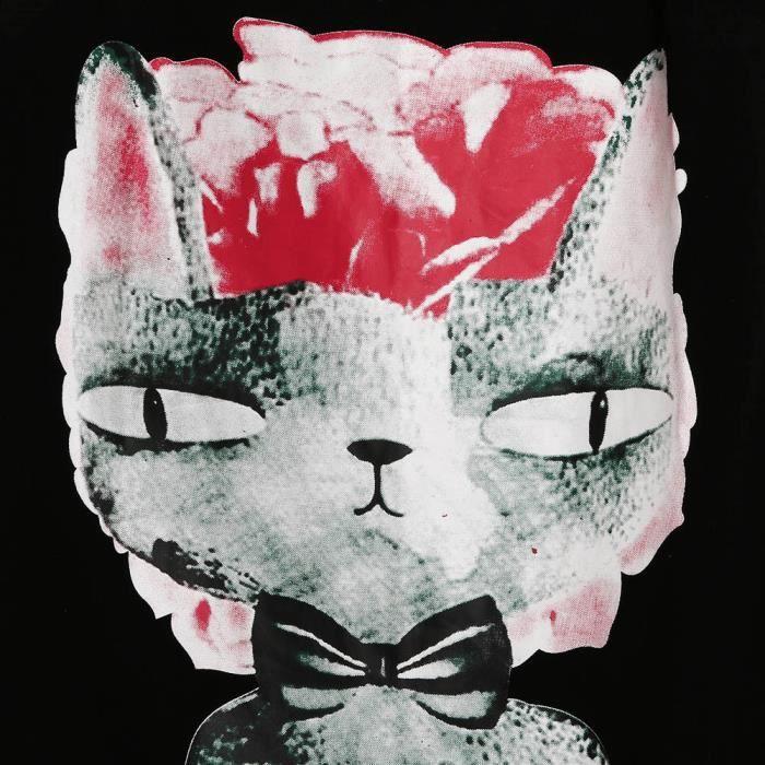 Chemisier Cat Femmes noir Crop Caraco Gilet Top Manches D'impression Réservoir Tqq0f