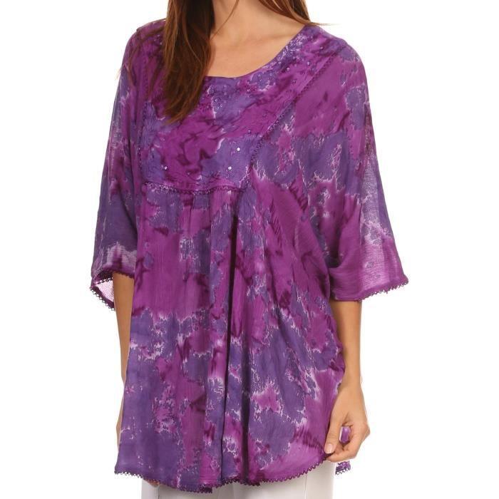 Blouse Top Dye Cleeo Dentelle 3ellcm m Sequins Long Femmes Large Taille Poncho Up Brodée Cover Tie De qP5avwI