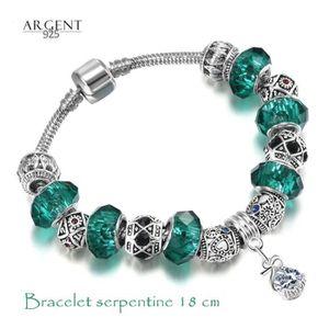 BRACELET - GOURMETTE 18 CM Bracelet Style Pandora Charm Goutte Emeraude