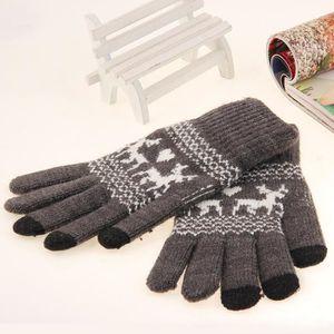 11a7c5298948 EOZY Gants Femme Fille Mode Gants Tricot Gloves de Noël Hiver Gris ...