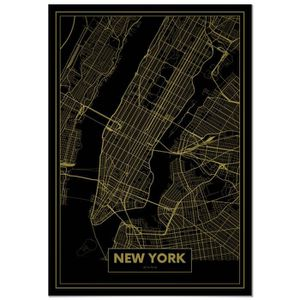 AFFICHE - POSTER Panorama® Poster Carte Or de New York 50 x 70 cm -