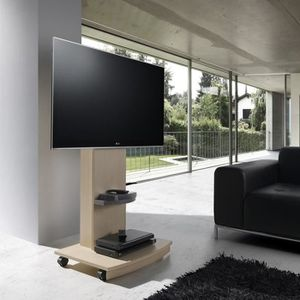Support tv roulettes achat vente support tv roulettes pas cher cdiscount for Support tv bois