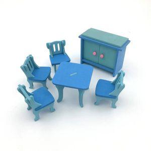 maison poupe 1 set 6pcs bebe maison de poupee en bois meubles