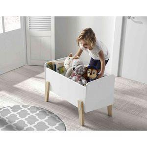 COFFRE À JOUETS Coffre à jouets 80x39x48 blanc en bois CO2012