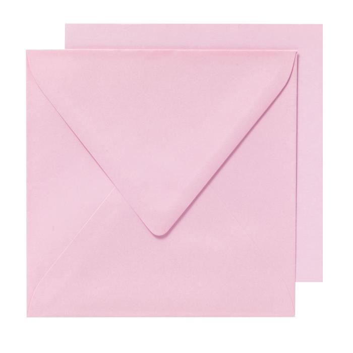 PANDURO Enveloppes cartes Rose x10 - Carrées pré-pliées - Poids 240 g - 155x155 cm