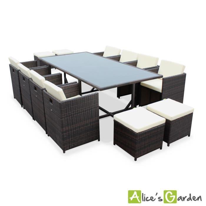 Salon de jardin avec fauteuils encastrables 8 places - Achat / Vente ...