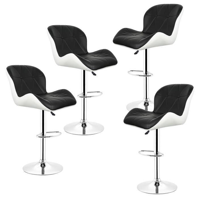 nouveau style 46498 2cae6 Lot de 4 Chaise de Bar Simili Cuir Blanc Noir Style Contemporain Dossier  Rembourré