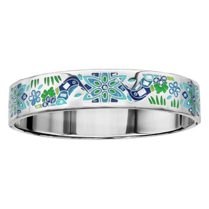 Bracelet Acier 316 L avec Nacre Colibri Bleu Vert