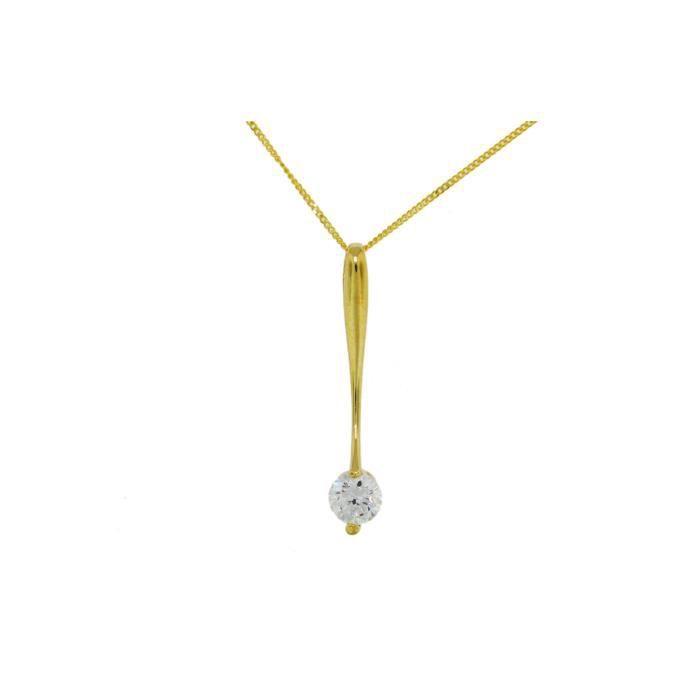 Collier Avec Pendentif - Femme - Or Jaune (9 Cts) 1.85 Gr - Oxyde De Zirconium Z8P0R