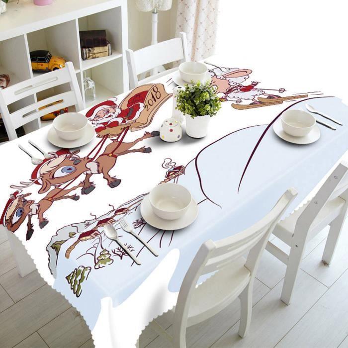 90*120cm Joyeux Noël Nappe rectangulaire tissu imprimé Party table ...