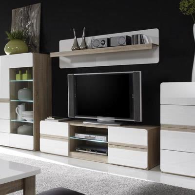 Meuble TV couleur bois et blanc laqué moderne ISIDORE L. 145 cm ...