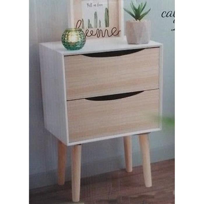 Table De Chevet Basse Bois Retro Design Appoint Chambre Salon