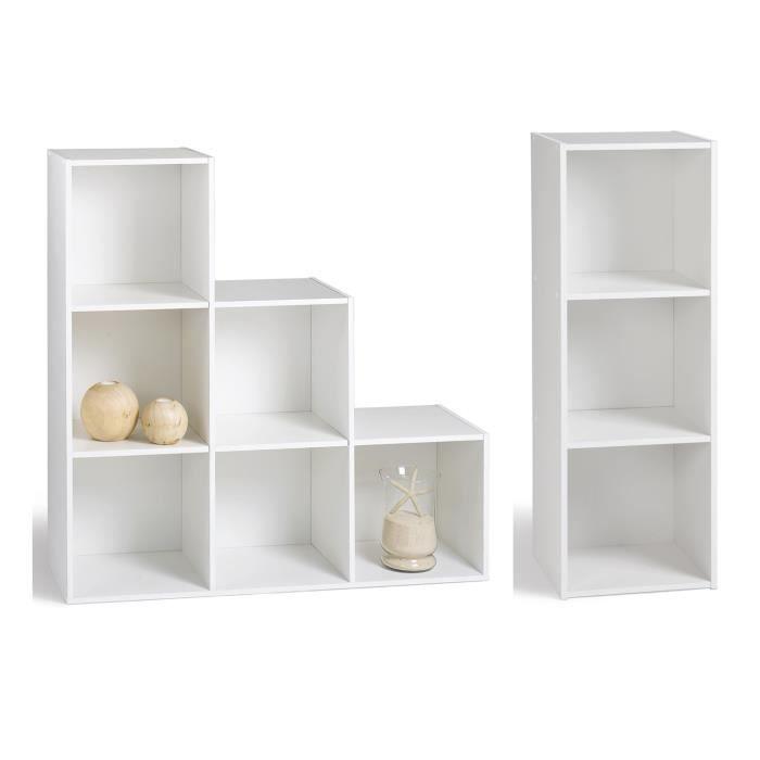 Compo colonne escalier blanc achat vente petit for Meuble cube 6 cases