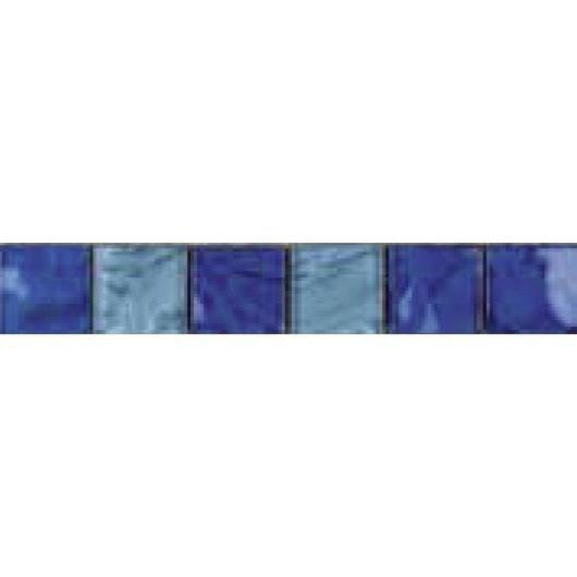 CARRELAGE - PAREMENT Listel en pate de verre  - 5 x 30 cm - Bleu
