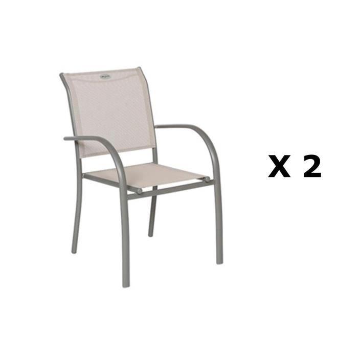 2 Chaises de jardin Piazza - H. 88 cm - Taupe et mastic - Achat ...