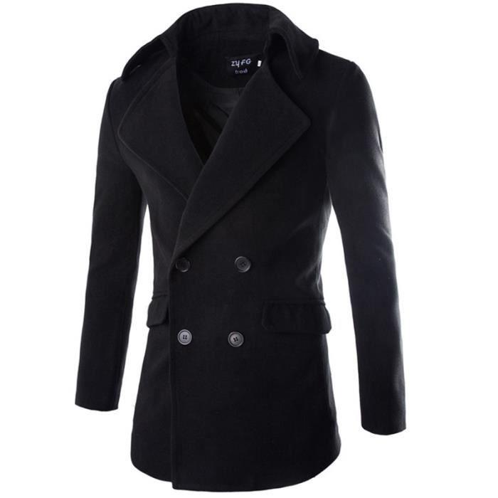variété de dessins et de couleurs réflexions sur riche et magnifique Manteau Homme Slim Fit Caban Homme Manteau en L... Noir ...