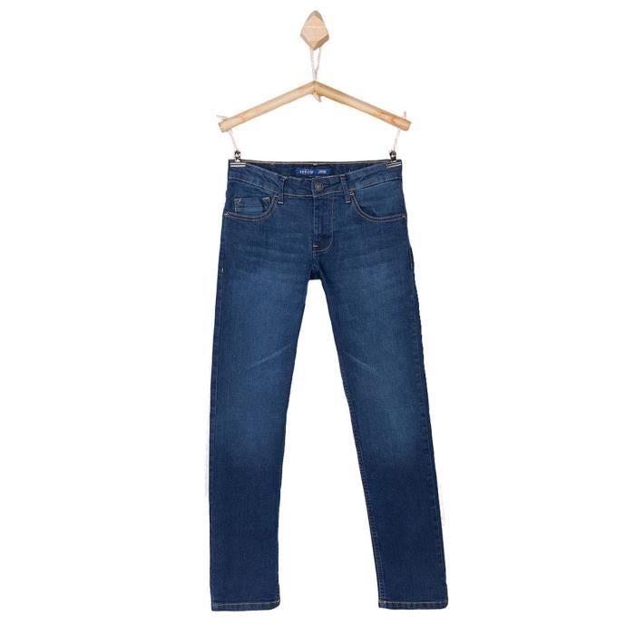 490f2ad7bf5ad Jeans TIFFOSI coupe slim - pour garçon enfant et ado - bleu légèrement  délavé - coton stretch - du 8 au 14 ans