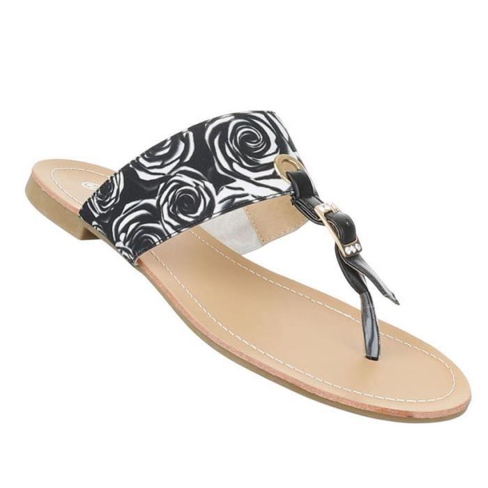 Femme sandales chaussures chaussures de plage chaussures d'été orteils trenner noir blanc 44