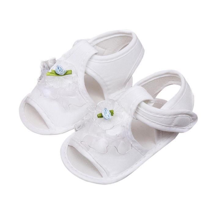 Napoulen®Tout-petits fille berceau chaussures fleur douce semelle anti-dérapants sandales bébé Sneakers BLANC-XPP2017270 QToha