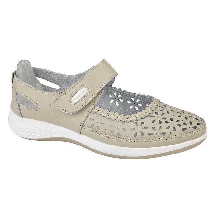 a80d86616fa93 Boulevard - Chaussures ouvertes perforés (pied large) - Femme Gris ...