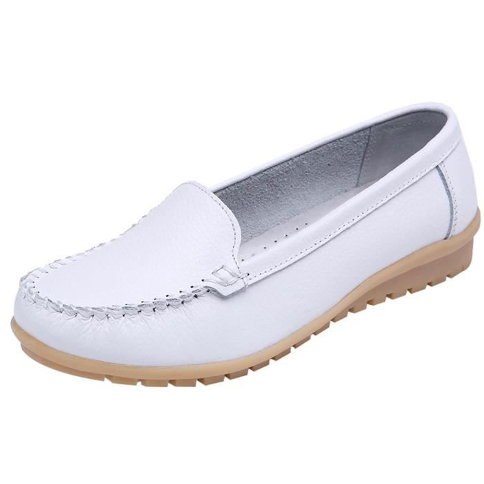 Seasons Shoes Blanc Leather Loafers On Shoe Genuine Flats y Slip Femmes 3558 Four zZnqCvw