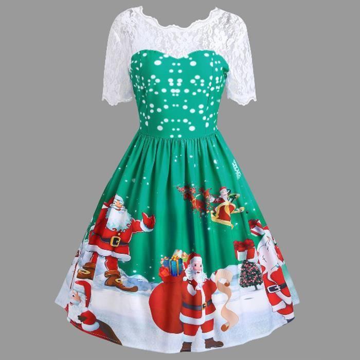 d3d6e28319d Spentoper Mode Femmes Joyeux Noël vintage Père Noël Imprimer Dentelle  Soirée Robe