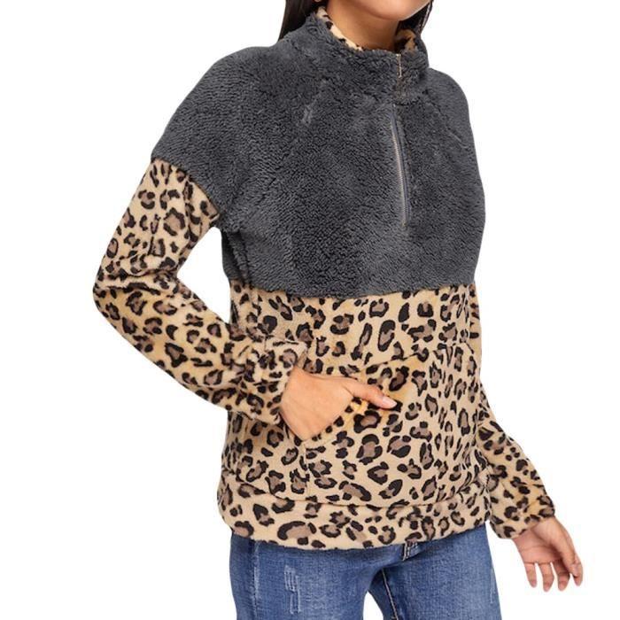 À Zip Manches Kaki Capuche Longues Leopard Sweat Toison Chaud Fuzzy Femmes 7wSw8aqnU