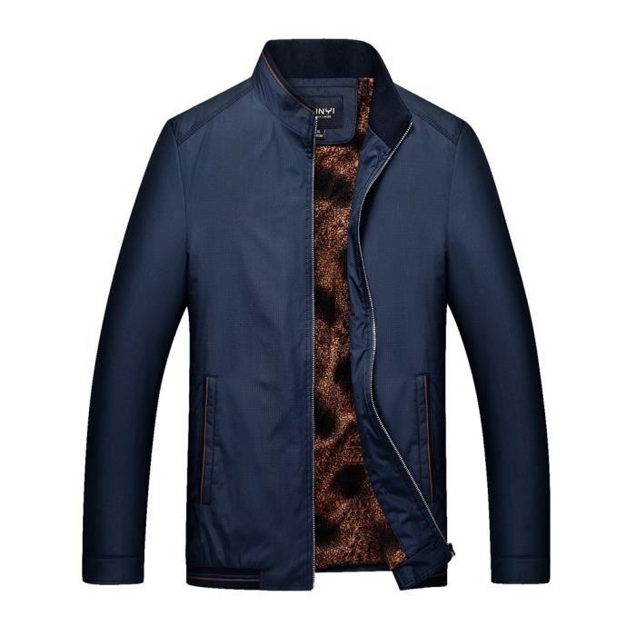 Manteau Casual Marine Col Stand Cachemire Men Épaississement Veste Hiver Business Zipper n05wq1qTB