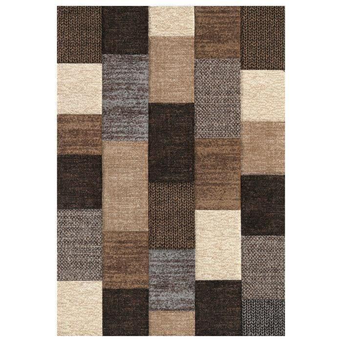tapis 120x170 marron beige achat vente pas cher. Black Bedroom Furniture Sets. Home Design Ideas