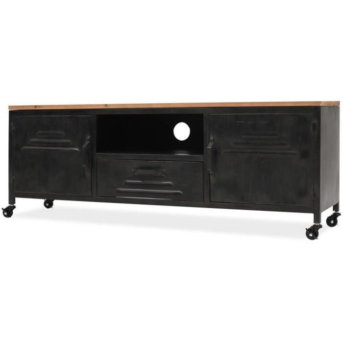 Meuble TV 120 x 30 x 43 cm Noir - Achat / Vente armoire de chambre ...