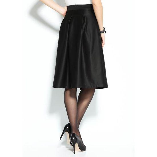femme Noir évasée plissée Vente jupe Jupe habillée Achat unie 8nyvm0OwN
